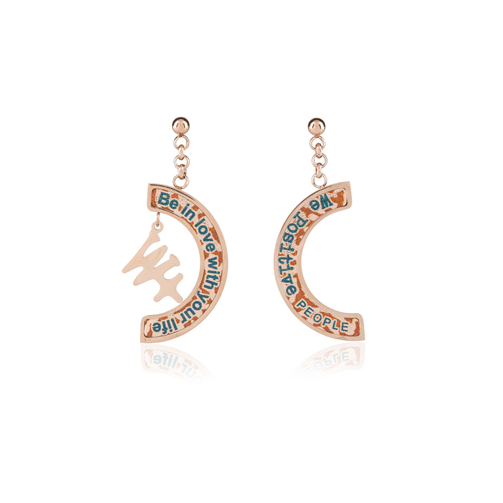 We Positive Earrings Printed Explorer Col. Pink Gold
