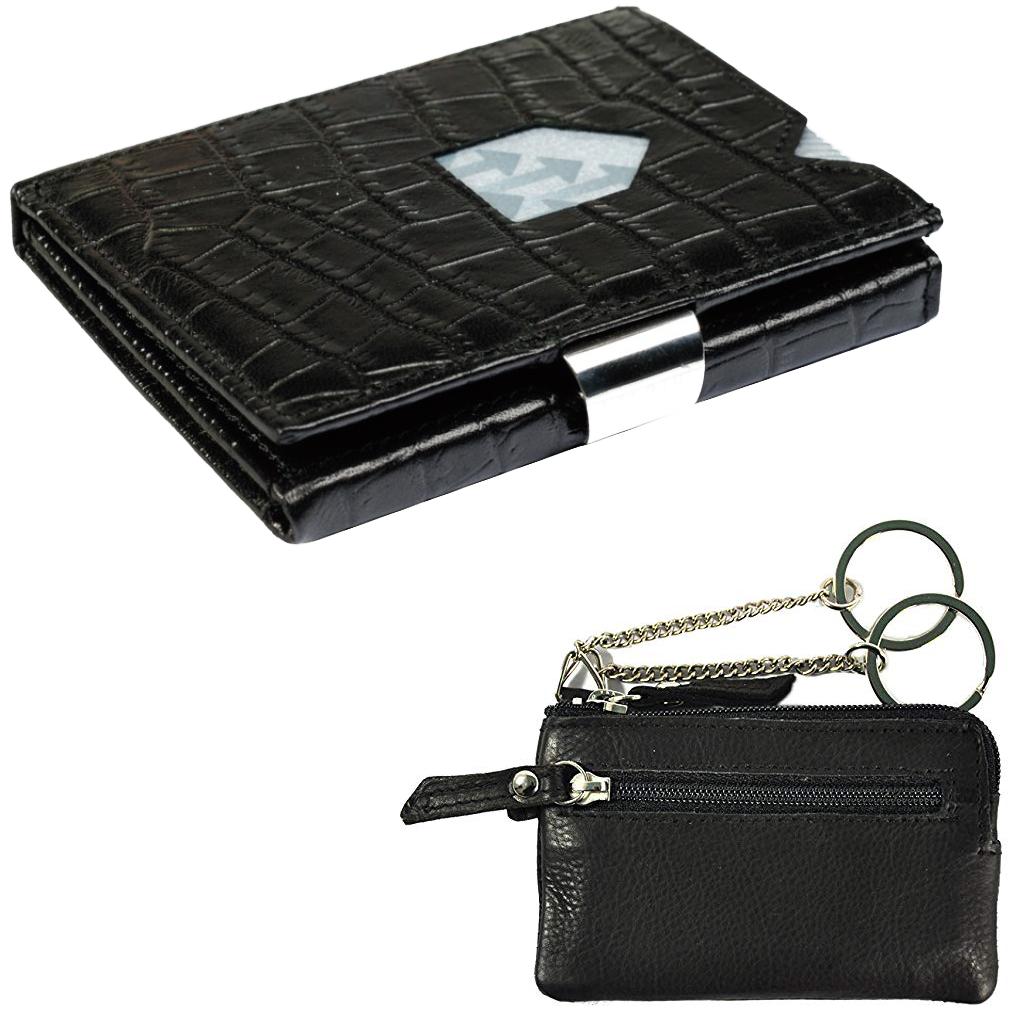 ed63ed8b168 Exentri Wallet Caiman Black non RFID met lederen sleutelhoes