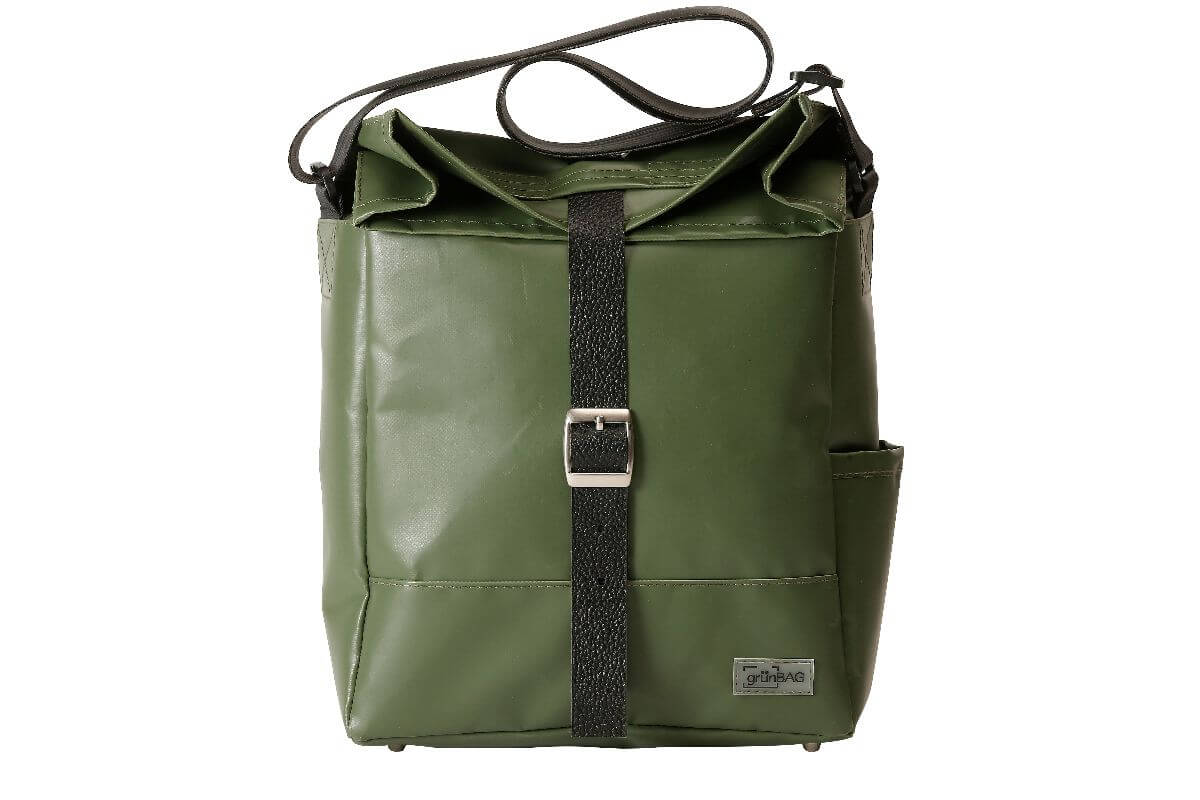 grünBAG City Leather-Belt Green