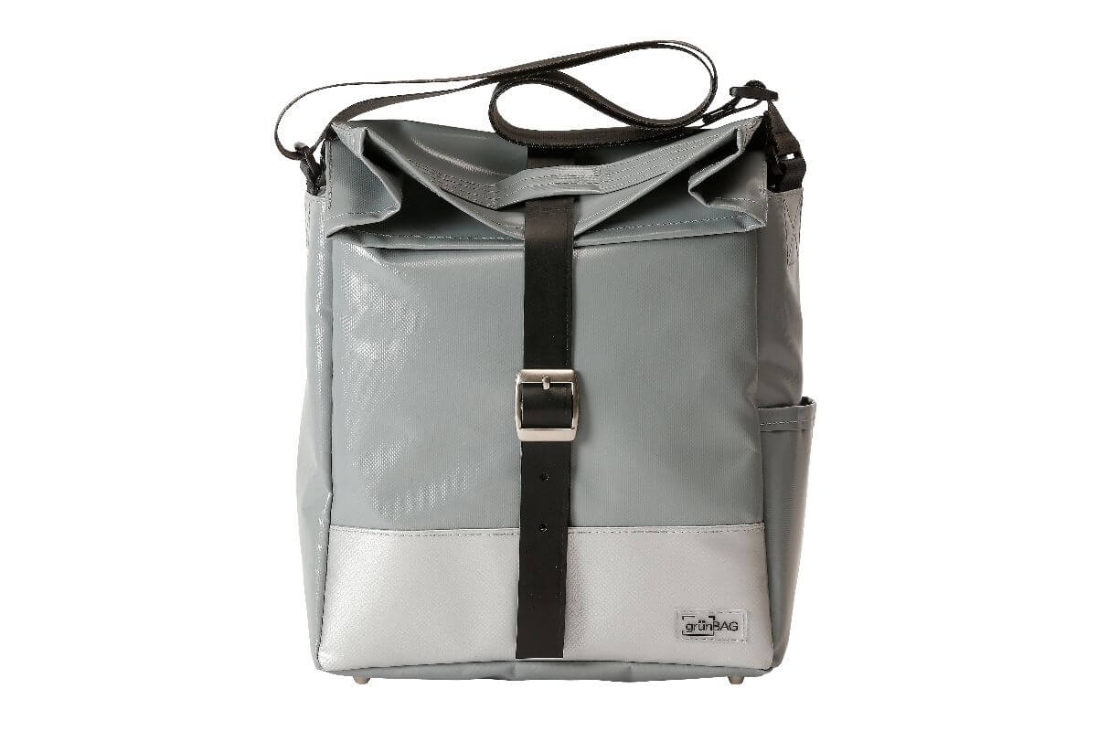 grünBAG City Leather-Belt Grey/White