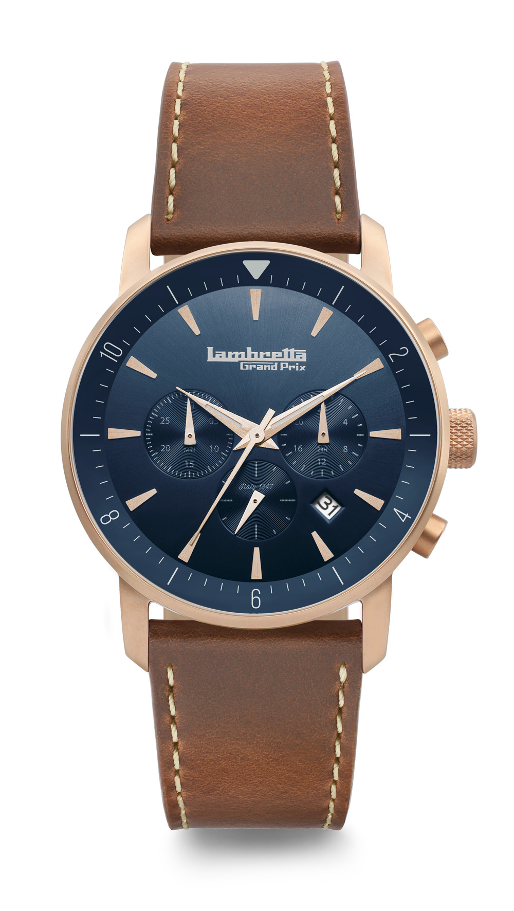Lambretta Imola 44 Racing Leather RoseGold Blue Brown 2196BLU2
