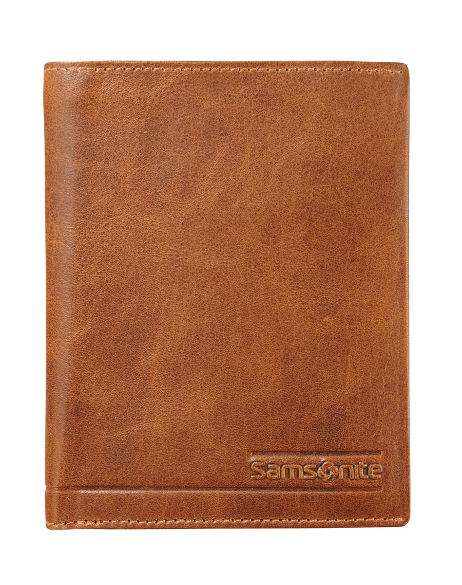 Samsonite Slant Wallet 6  Cards 2 Window Tan