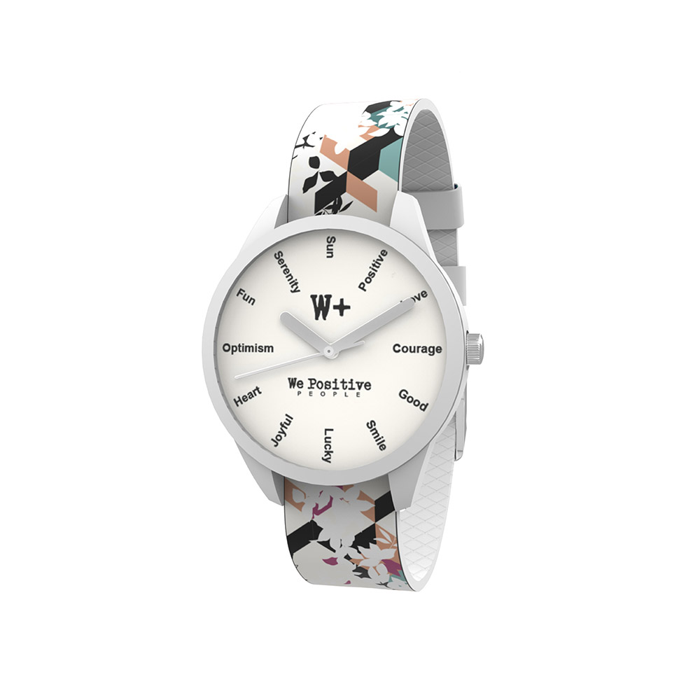 We Positive Watch Printed Col. White
